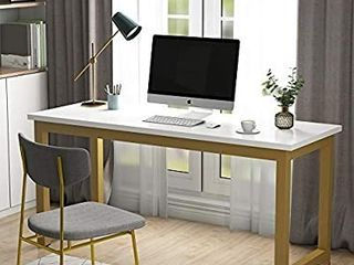 Tribesigns Computer Desk  63 inch large Office Desk  Study Writing Table for Home Office  Easy Assemble  White Gold