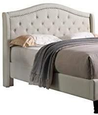 Home life 0013 Cloth light Beige Cream linen Curved Hand Diamond Tufted and Nailed 53  Tall headboard  Full