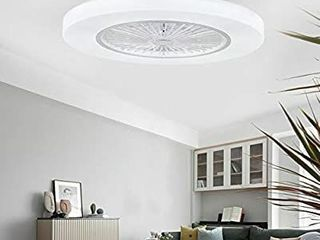 Orillon 22  Thin Modern Ceiling Fan light and 4 ABS Blades   Plastic Cover  White