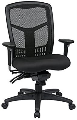 Office Star ProGrid High Back Managers Chair with Adjustable Arms  Multi Function and Seat Slider  Black