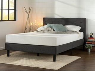 Zinus Shalini Upholstered Diamond Stitched Platform Bed   Mattress Foundation   Easy Assembly   Strong Wood Slat Support   Dark Grey  Queen