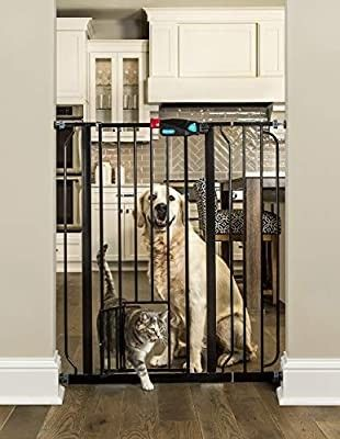 Carlson Extra Tall Walk Through Pet Gate with Small Pet Door  Includes 4 Inch Extension Kit  4 Pack Pressure Mount Kit and 4 Pack Wall Mount Kit  Black