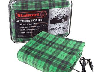 Stalwart 12 Volt Buffalo Check Green and Black Electric Fleece Auto Blanket