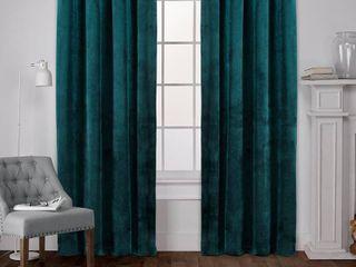 Velvet Heavyweight Grommet Top Window Curtain Panel Pair  Teal   Exclusive Home