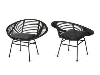 San Antonio Outdoor Woven Faux Rattan Chairs with Cushions  Set of 2  by Christopher Knight Home  Retail 231 99