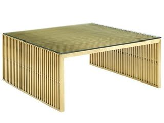 Gridiron Stainless Steel Coffee Table  Gold  Retail 1041 99