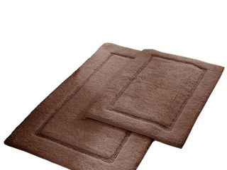 Modern Threads 2 Pack Solid loop With Non Slip Backing Bath Mat Set