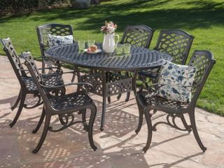 Windley Outdoor Expandable Aluminum Dining Table with Umbrella Hole by Christopher Knight Home  Retail 1219 49