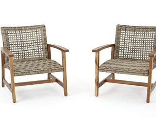 Hampton Outdoor Mid century Wicker Club Chair  Set of 2  by Christopher Knight Home  Retail 301 99