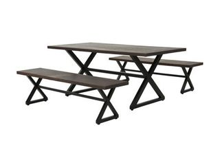 Rolando Outdoor Picnic Dining Benches Set of 2 by Christopher Knight Home  Retail 986 99
