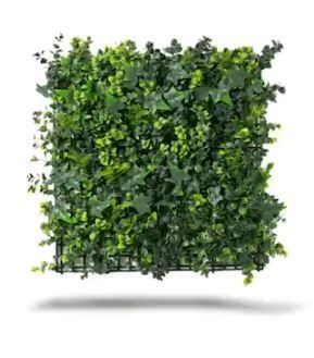 Indoor Outdoor Mixed Artificial Outdoor Foliage Wall Panels  Set of 4    Green