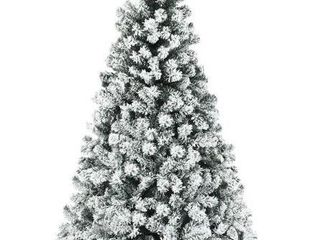 Artificial 6 ft  Christmas Tree Pre lit Flocked Hinged Pine Tree  Retail 147 99