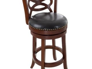 lavish Home 31 in  Wood and leather Swivel Stool   Dark Brown