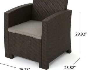 St  Johns Outdoor Faux Wicker Print Club Chair with Cushion by Christopher Knight Home