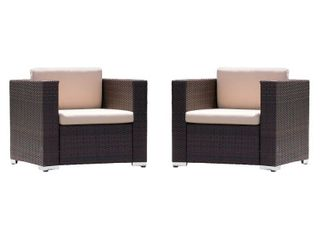 Murano Outdoor Aluminum Club Chair with Cushions  Set of 2  by Christopher Knight Home  Retail 661 49