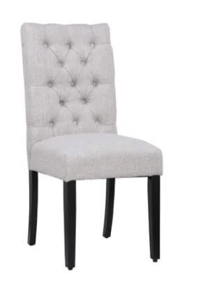 Grandview Tufted Upholstered linen Fabric Dining Chairs  Set of 2    Retail 136 49