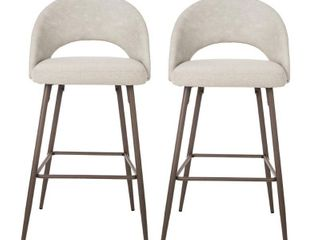 Glitzhome Set of 2 Grey Mixing Fabic and leatherette Bar Stool with Tapered Metal legs  Retail 232 99
