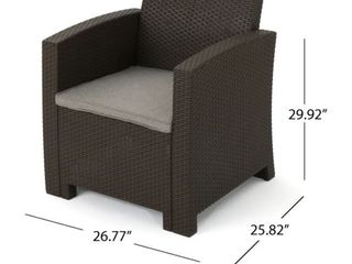 St  Johns Outdoor Faux Wicker Print Club Chair with Cushions by Christopher Knight Home  Retail 505 99