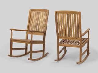 Arcadia Outdoor Acacia Wood Rocking Chairs  1 Chair Only  by Christopher Knight Home  Retail 272 99