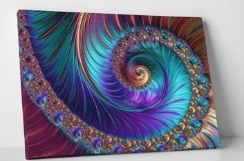 Peacock esk Spiral  Gallery Wrapped Abstract Canvas Wall Art