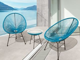 Sarcelles Modern Wicker Patio Chairs by Corvus  Set of 2  Retail 197 49