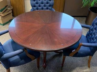 Nice wood round conference table with 3 chairs