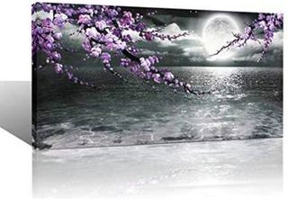 large Purple Wall Art Decor for living Room Bedroom Framed Black and White Seascape Full Moon Purple Flower Painting Canvas Picture Modern Hand Painted Plum Blossom Artwork