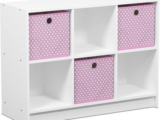 Furinno Basic 6 Cube Storage Organizer Bookcase Storage with Bins  Multiple Colors