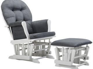 Angel line Windsor Glider and Ottoman  White w  Dark Gray Cushion