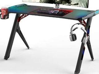 CNASA Gaming Desk Premium Home Office PC Computer Table for Gamer Pro  Black Gaming Desks Workstation with RGB lED lights Cup Holder  Gaming Table Writing Desk Office Desk