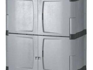 Rubbermaid 72 Inch Four Shelf Double Door Resin Storage Cabinet  FG708300MICHR