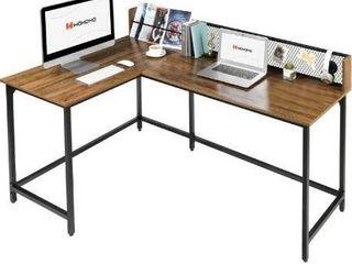 WOHOMO Corner Desk Computer Desk large Desktop l Shaped Home Office Desk Study Writing Workstation Modern Industrial Style  Rustic Walnut