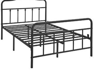 VASAGlE Full Size Metal Bed Frame with Headboard  Footboard  No Box Spring Needed Platform Bed  Under Bed Storage  Victorian Vintage Style  Black