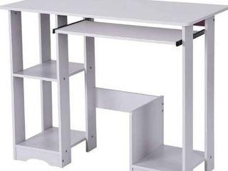 35 4in Multifunctional Desktop Home Computer Desk Modern Minimalist Creative Desk Writing Desk with Keyboard Tray     Host Pedestal lockers
