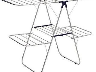 SONGMICS Foldable Clothes Drying Rack  2 level Stable Indoor Airer  Free Standing laundry Stand  with Height Adjustable Gullwings  for Bed linen  Clothing  Socks  Scarves  Blue UllR53BU