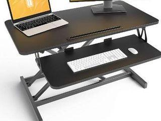 Standing Desk with Height Adjustable a FEZIBO 32 inches Stand Up Black Desk Converter  Ergonomic Tabletop Workstation Riser Black