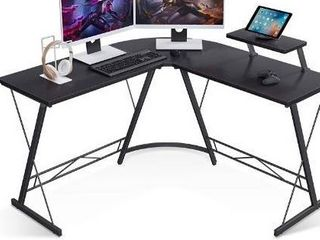 Casaottima l Shaped Desk  51  Home Office Desk with Round Corner Computer Desk with large Monitor Stand Desk Workstation Black