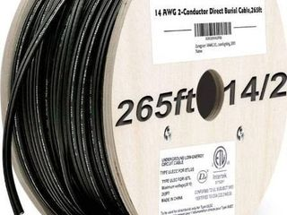Zonegrace 14AWG 2 Conductor 14 2 Direct Burial Wire for low Voltage landscape lighting  265ft