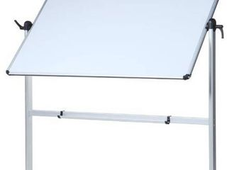 VIZ PRO Double Sided Magnetic Mobile Whiteboard  48 x 36 Inches  Aluminium Frame and Stand
