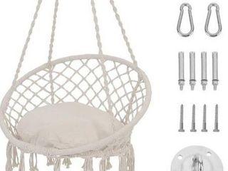 Patio Watcher Hammock Chair Macrame Swing with Cushion and Hanging Hardware Kits