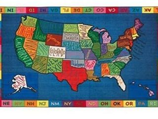 Flagship Carpets FE262 44A My America Doodle Map  Children s Classroom Educational Rug  4ft 2 in A 2ft 11in  Rectangle