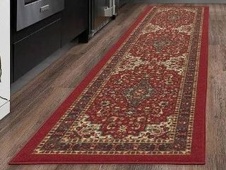 Ottomanson Ottohome Collection Persian Oriental Design Runner Skid  Non Slip  Rubber Backinga Area Rug  9ft 7 in A 2ft 7in  Red Heriz