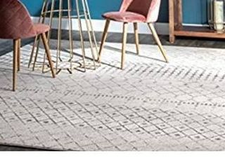 nulOOM Moroccan Blythe Area Rug  8  10  x 12  Grey Off white