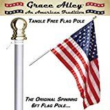 Flag Pole  Tangle Free Spinning Flagpole Residential or Commercial 6ft Flag Pole  Silver