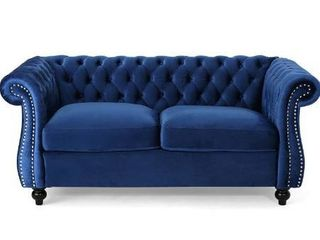 Christopher Knight Home Karen Traditional Chesterfield loveseat Sofa  Navy Blue and Dark Brown  61 75 x 33 75 x 27 75 306027