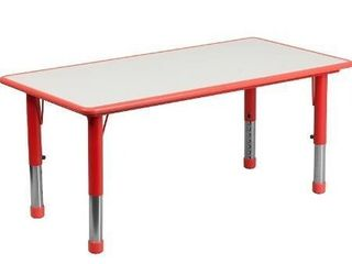 Flash Furniture 23 625 W x 47 25 l Rectangular Red Plastic Height Adjustable Activity Table with Grey Top
