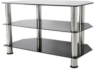 42  TV Stand with Glass Shelves   Silver Black