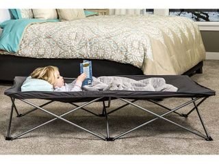 Regalo Extra long My CotAr Portable Toddler Bed  Gray  Includes Fitted Sheet
