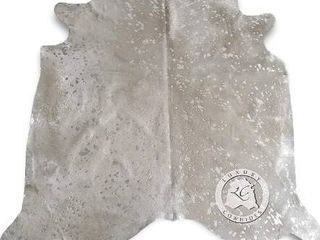 Metallic Silver On Off White Cowhide Rug 6ft x 8ft 180 cm x 240cm