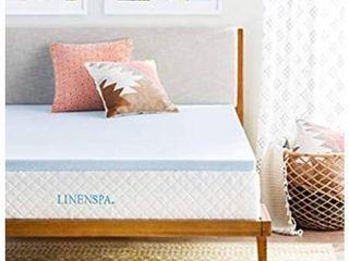 linenspa 2 Inch Gel Infused Memory Foam Mattress Topper  Full  Blue